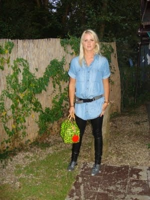 Look of the Day: Leather and Denim