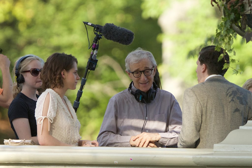 Woody Allen instructs his young actors on the set.