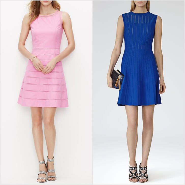 Ann Taylor More people need to know that Ann Taylor, purveyor of 30-something-appropriate clothing that won't destroy your bank account, also has a bridesmaid dress section! Classic options that will still look as good in photos 20 years from now are a sure find (like the peony blossom flare dress above, $149). Zara We're a bit obsessed with Zara for nearly any event facing our closet, but if you scan the site (and brick and mortars) enough, you'll likely spot a gorgeous cocktail frock every now and then that would look totally comfortable when you walk down the aisle. Case in point? This strappy find ($70). Reiss For simple sheaths and basic LBDs, you can't do much better than a Reiss sheer stripe dress ($340). Don't expect anything overly girlie or romantic, but the sophistication of its basic dresses will make a certain type of bride very happy.