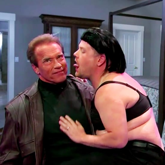 James Corden Got Up Close and Personal Reenacting Arnold Schwarzenegger's Movies