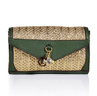 This is just the bag to pair with the breeziest of maxi dresses for your Summer beach weddings.  Juicy Couture Gold and Olive Palm Springs Party Clutch ($105)