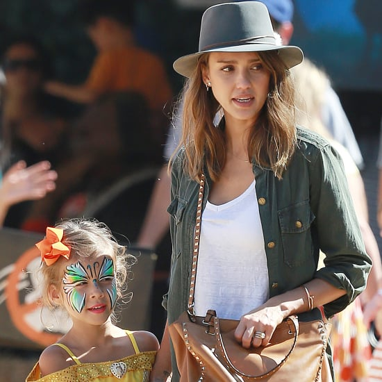Jessica Alba Brings Her Daughters to the Pumpkin Patch in LA
