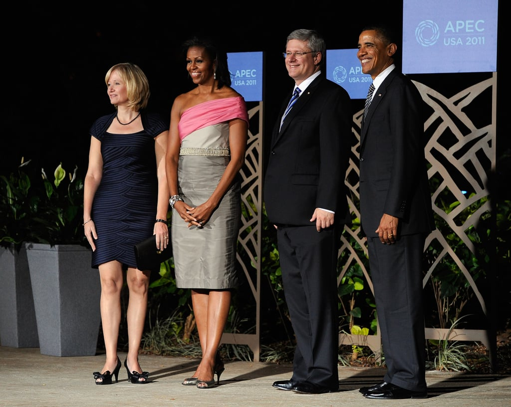 The FLOTUS wore a gray-and-pink dress during a summit in Hawaii.