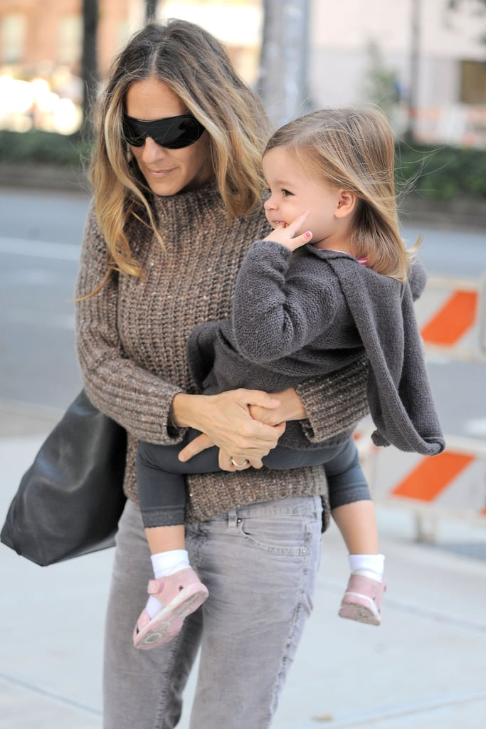 SJP spent the morning with one of her twins, Tabitha.