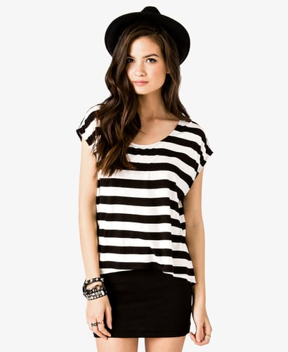 FOREVER 21 Chiffon Back Striped Top