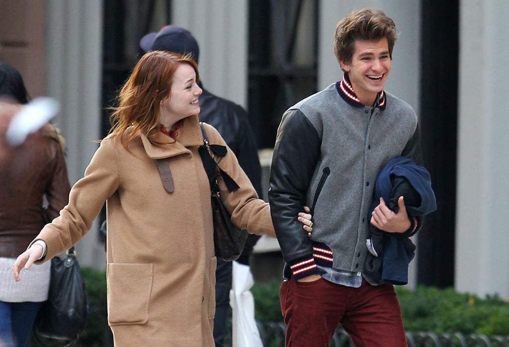 Andrew Garfield and Emma Stone laughed on a romantic walk.