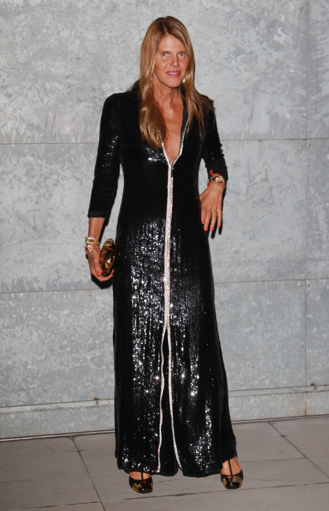 Anna Dello Russo chose a floor-length sequin gown with T-strap pumps for her front-row appearance at Giorgio Armani.