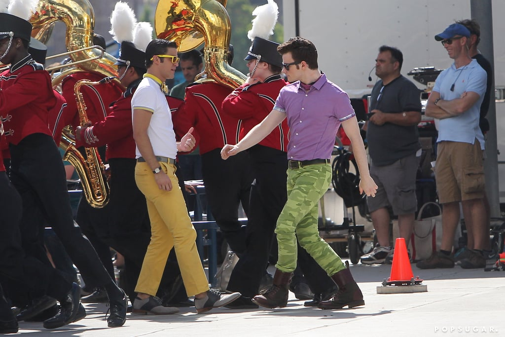 Chris Colfer and Darren Criss performed on the set of Glee.