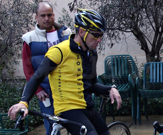 Photos of Lance Armstrong Taking a Break from Bicycling