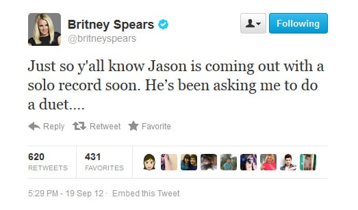 Britney announces fiancé Jason Trawick's latest venture... and quickly assures us she was joking.