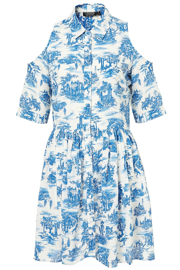 We adore the ladylike quality of this vintage-china-printed shirtdress, but its edgier cutout details at the shoulder give it a modern appeal. While it's still warm out, wear it with high-top Chucks and a downtown shoulder bag. When it cools down, throw on a lightweight trench coat and flat boots. Topshop Cutout Shoulder Shirtdress ($80)
