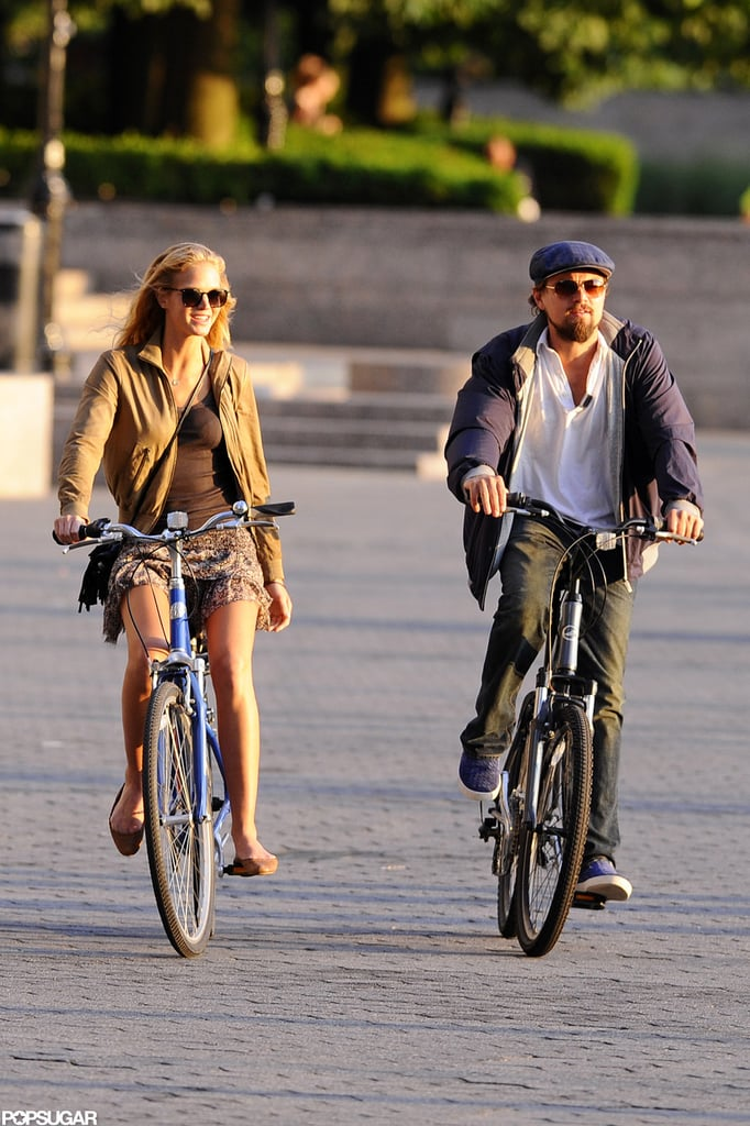 Leo and his Victoria's Secret Angel girlfriend Erin Heatherton rode bikes in NYC together in June 2012.