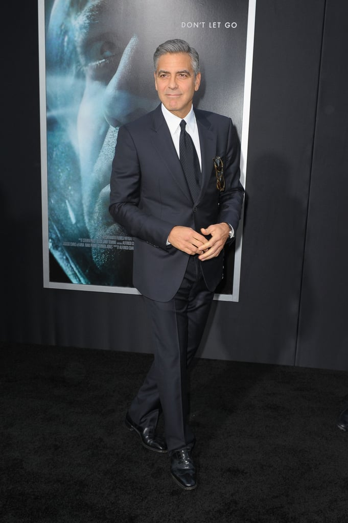 George Clooney looked dapper in a full suit at the premiere of Gravity.