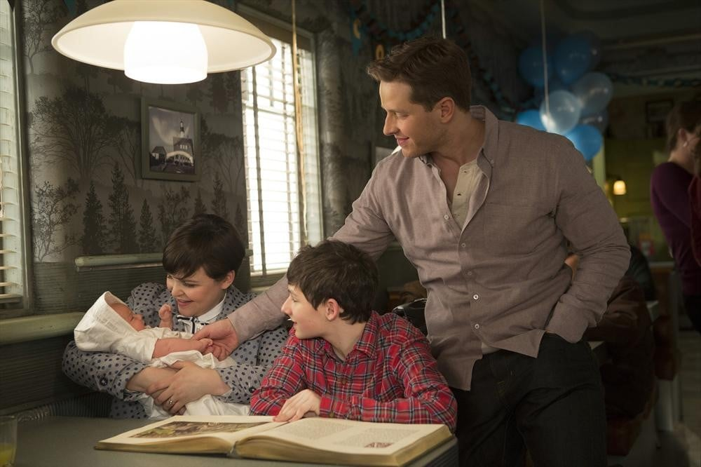 Awww! Ginnifer Goodwin and Josh Dallas play doting parents Snow and Charming.