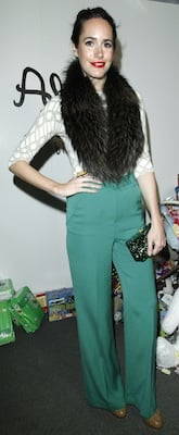 Louise Roe in Green Alice and Olivia Pants, Fur Scarf