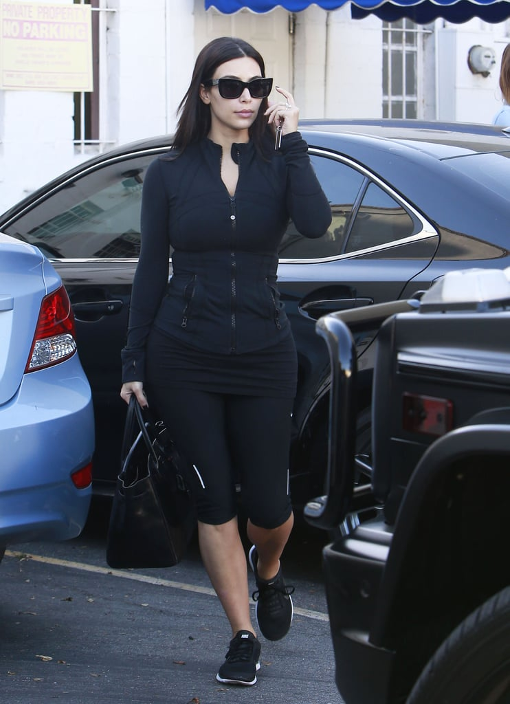 On Friday, Kim Kardashian stepped out in her workout gear in LA before popping up in Paris with Kanye West ahead of their wedding.