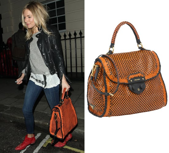 Sienna Miller Carrying Orange Prada Madras Bag