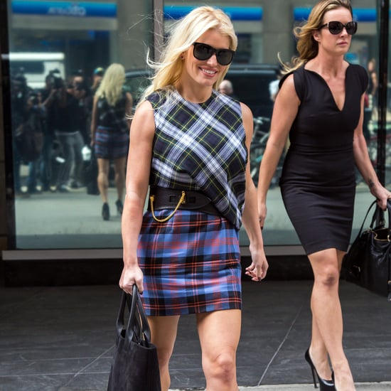 Jessica Simpson's Plaid Outfit Street Style