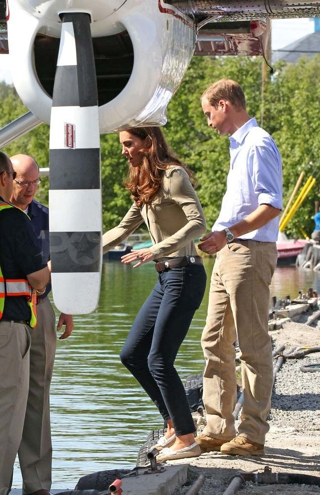 Prince William and Kate Middleton getting on a seaplane in Canada.