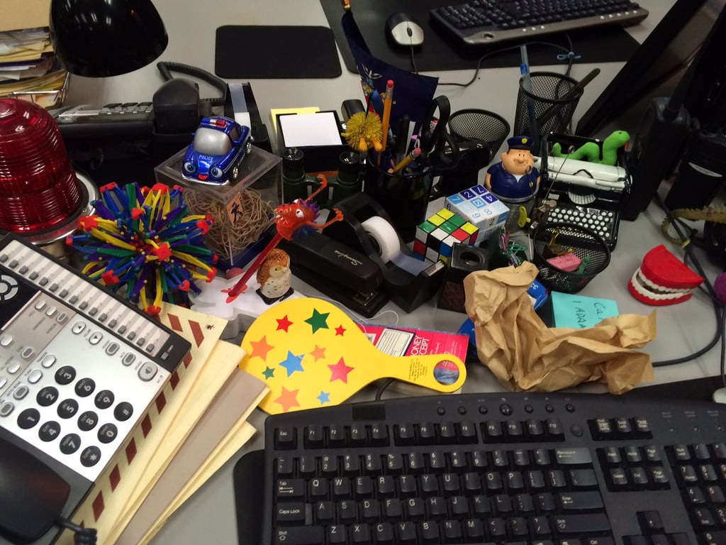 Jake Peralta's desk is like a page out of an I Spy book.
