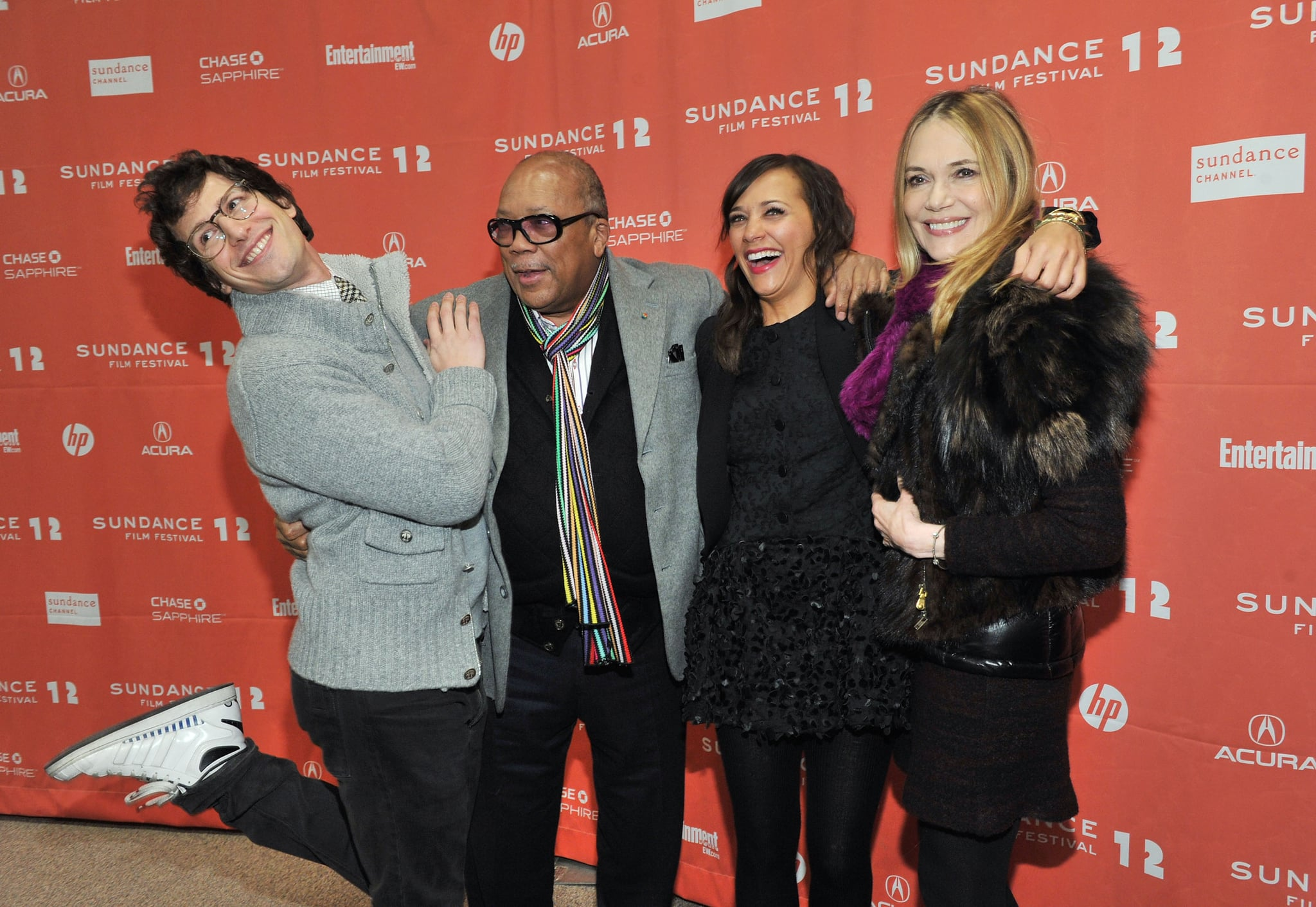 Andy Samberg posed with Rashida Jones and her parents, Quincy Jones and Peggy Lipton, as they promoted Celeste and Jesse Forever at the 2012 Sundance Film Festival.