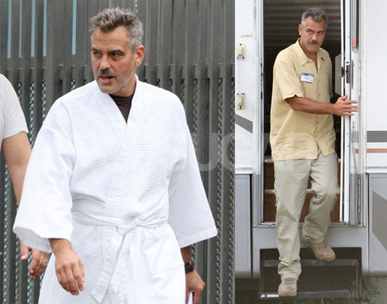 Photos of George Clooney With  Mustache in Puerto Rico Filming Men Who Stare at Goats