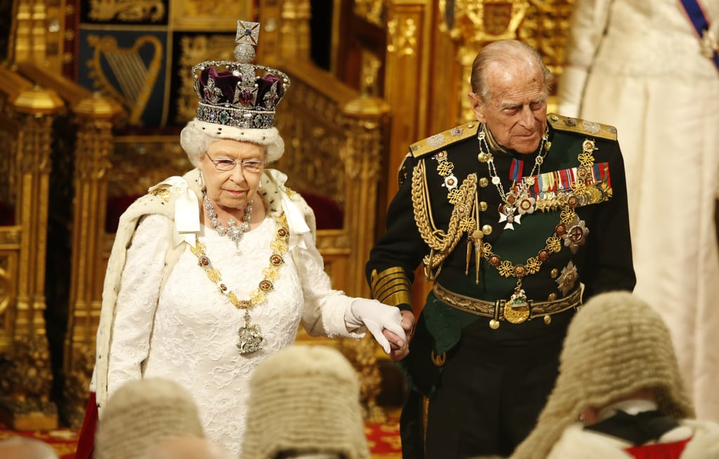 Prince Philip held hands with Queen Elizabeth II during the State Opening of Parliament in the House of Lords at the Palace of Westminster in London in May 2016.