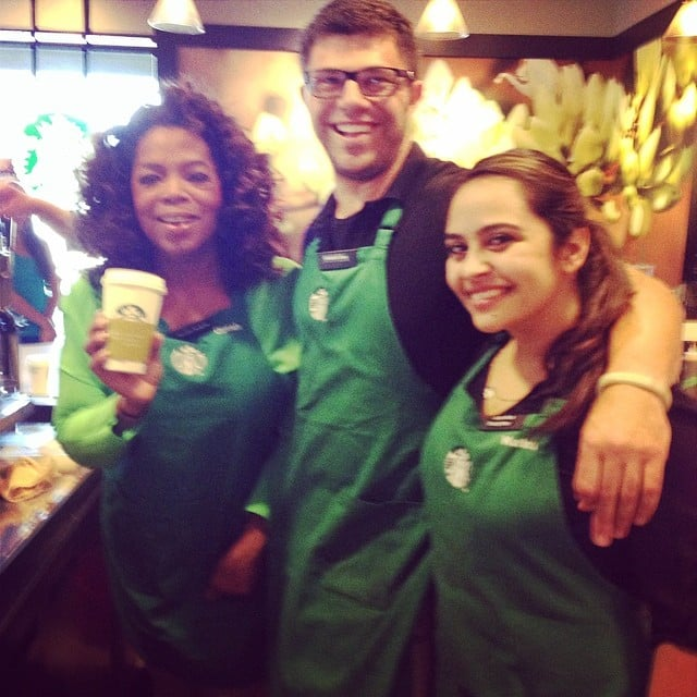 """Yes, that's Oprah Winfrey behind the counter at Starbucks, promoting her special chai tea drink. """"Getting my Chai on with partners @Starbucks. Bring your Mom! #oprahchai,"""" she captioned the picture. Source: Instagram user oprah"""