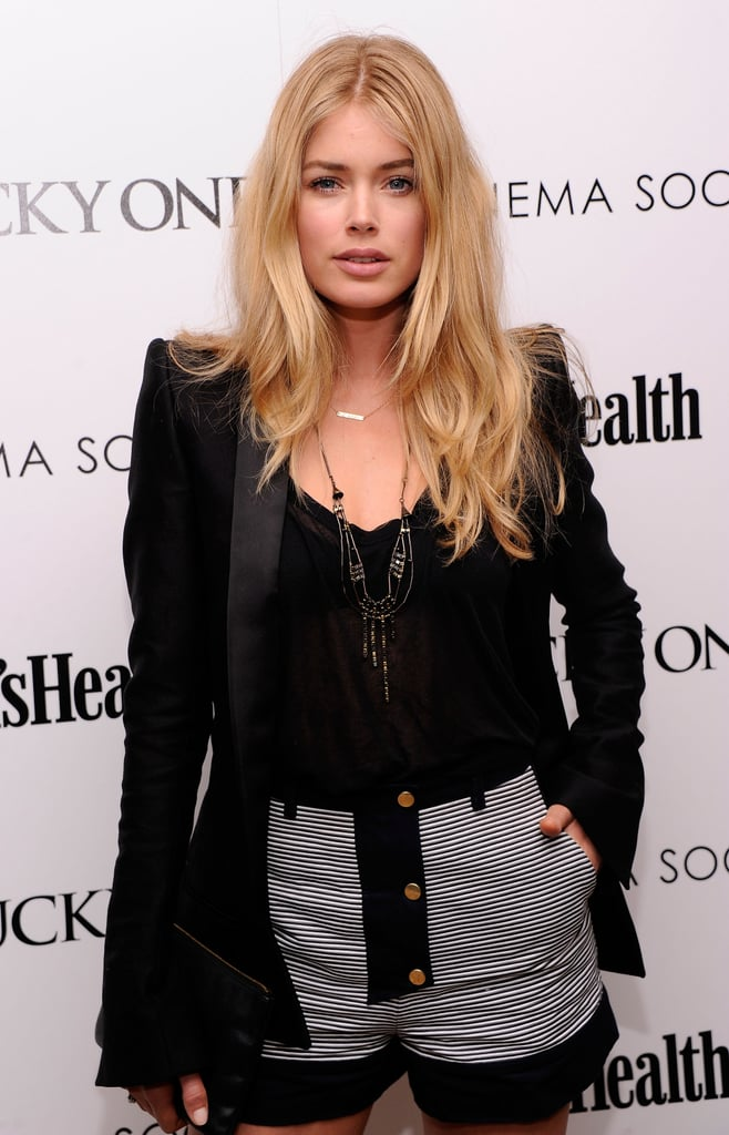 Doutzen Kroes wore short shorts and a blazer to the Cinema Society and Men's Health screening of The Lucky One in NYC.