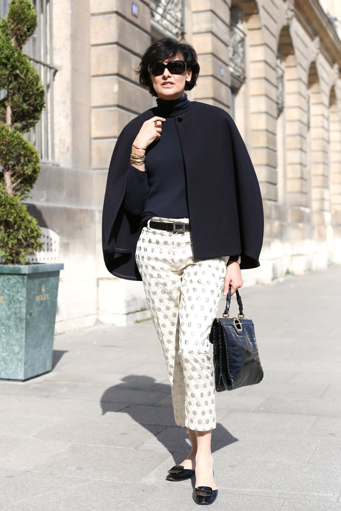 Sweet trousers and ladylike footwear teamed up for a charming look.