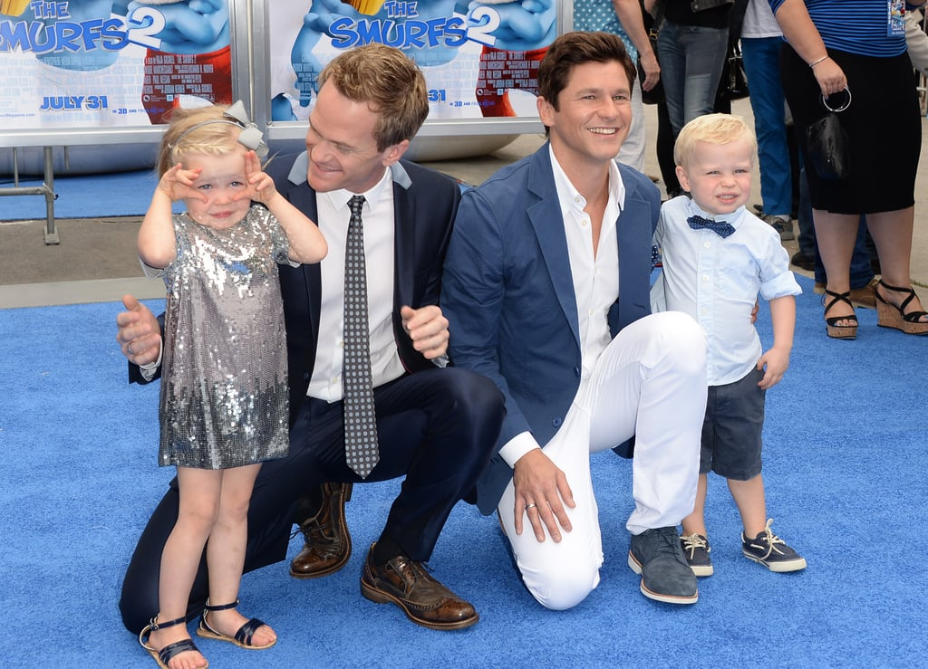 David Burtka and Neil Patrick Harris attended premiere of The Smurfs 2 with their twins, Harper and Gideon, in LA.