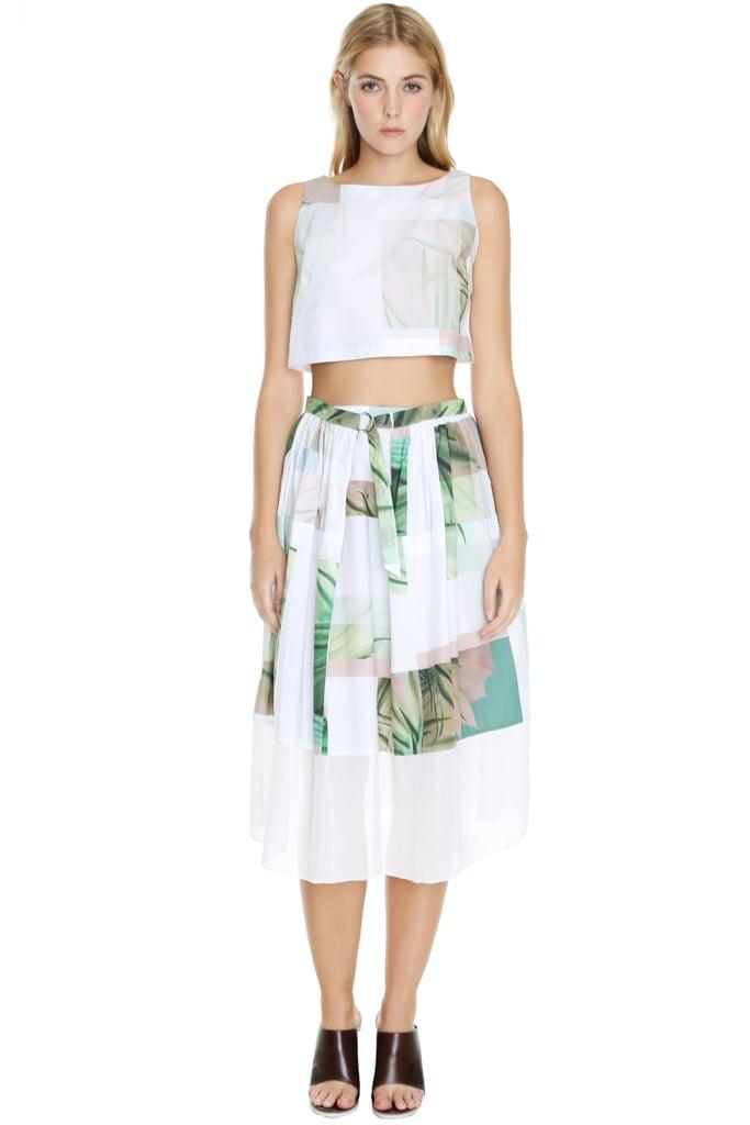 Tibi Cactus Print Crop Top and Matching Midi Skirt