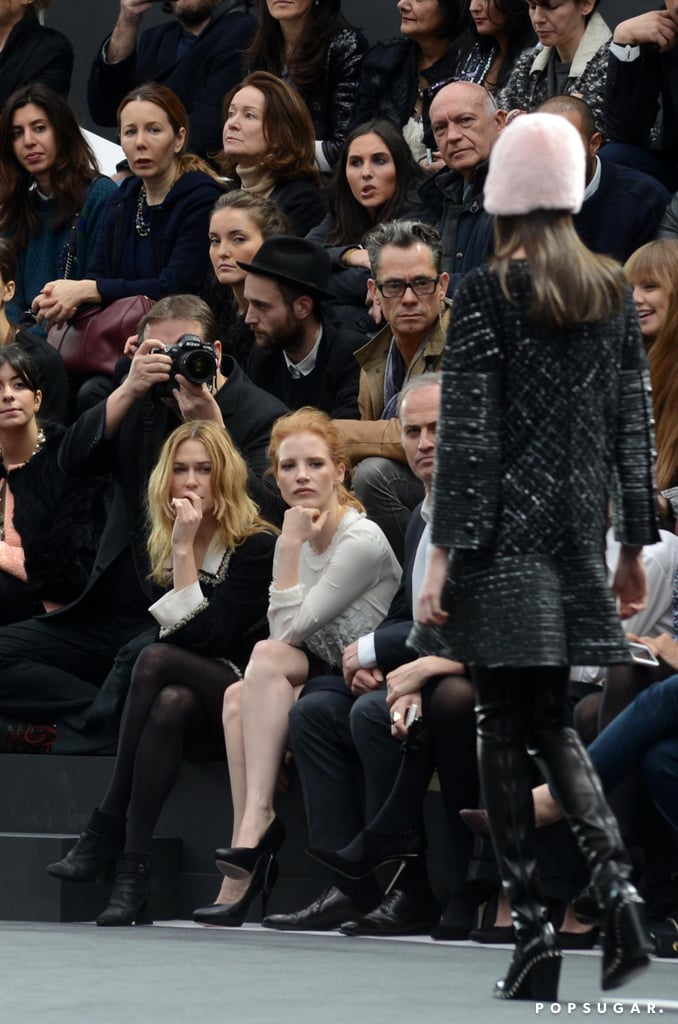 Jessica Chastain admired the clothes.