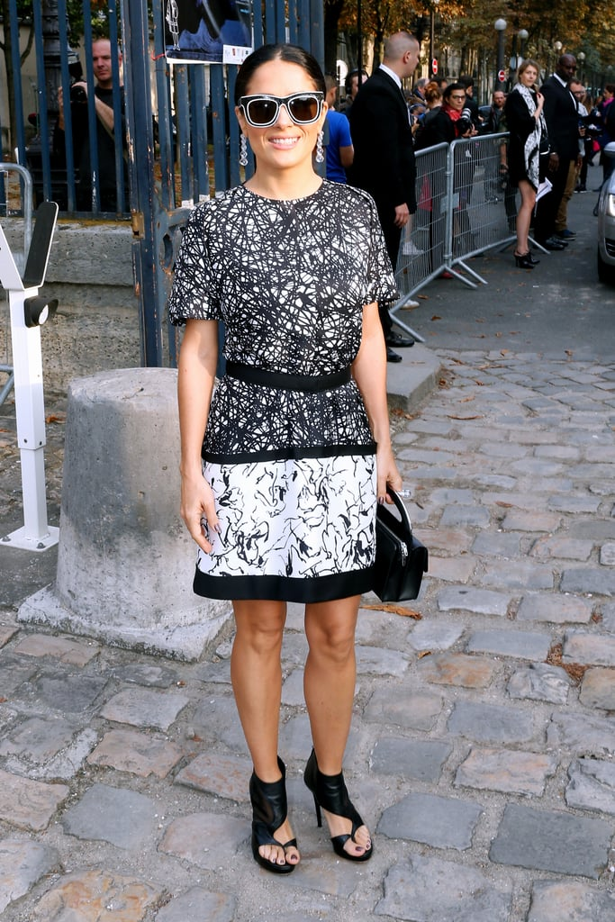 Salma Hayek kept her shades on for the Balenciaga show on Thursday.