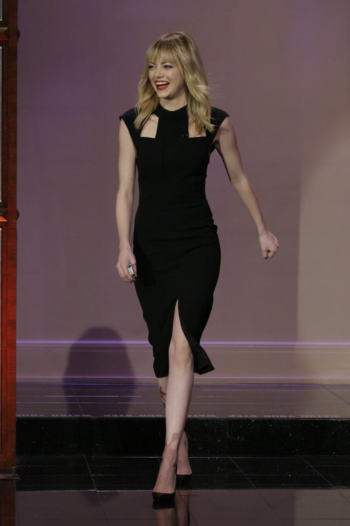 Emma Stone wore a black J. Mendel dress.