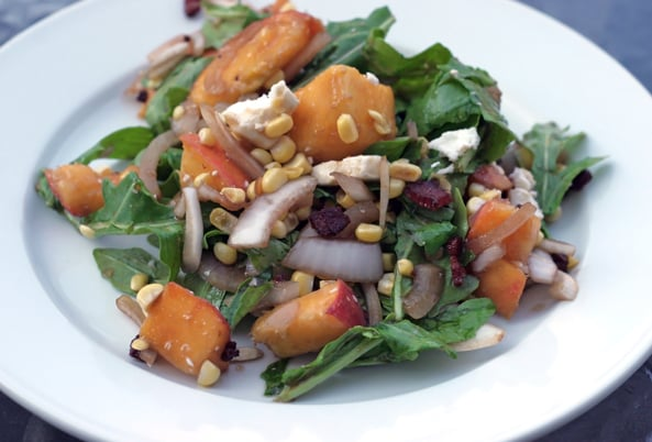 Summer Peach Salad With Feta, Onions, and Arugula