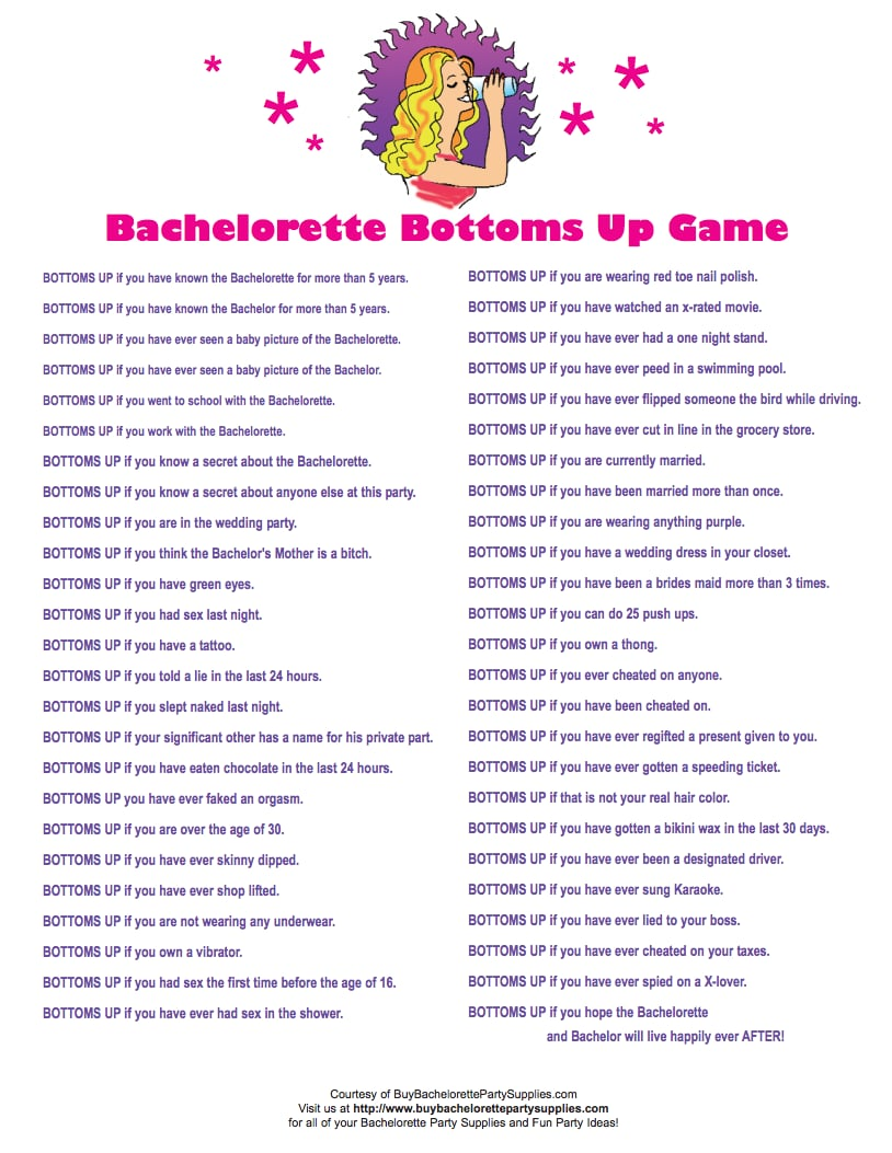 bottoms up game 24 free bachelorette party printables every bride