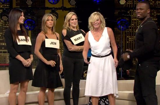 50 Cent Surprises Chelsea Handler During Sandra Bullock, Jennifer Aniston, Mary McCormack Intervention