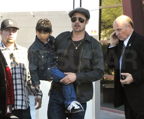 Photo of Brad Pitt and His Son Pax in Las Vegas