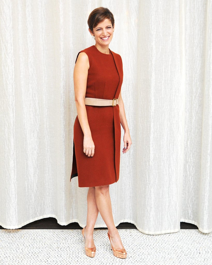 Cindi Leive went minimalist in rust to moderate Calvin Klein Underwear's Every Mother Counts conversation.