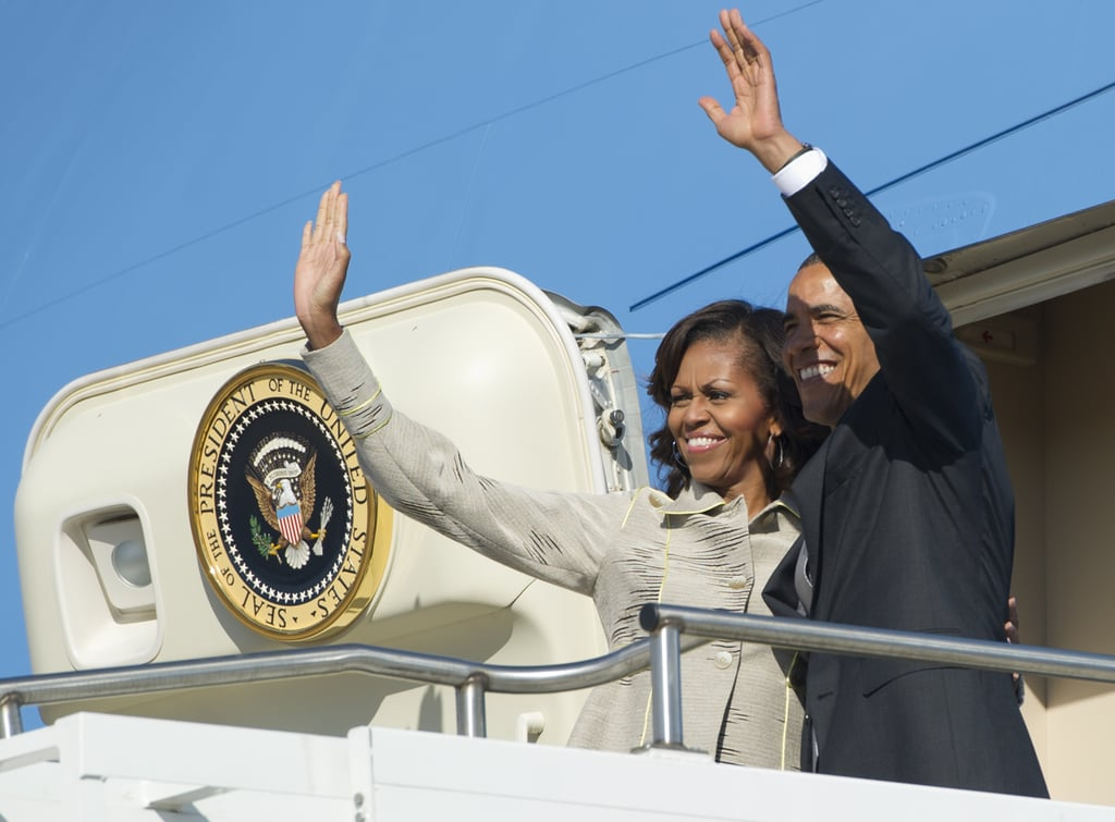 The Obamas waved from Air Force One as they left Pretoria, South Africa, in June 2013.