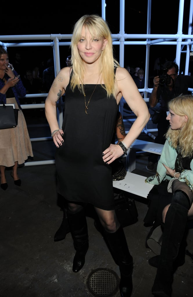 Courtney Love popped up for the Alexander Wang runway show on Saturday evening.