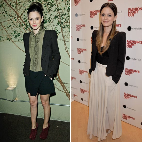 Rachel Bilson gives us two ways to work a blazer into our style routine. Adding interest and a dressier element, Rachel finished evening shorts with her Vanessa Bruno blazer. She used the same sophisticated piece to top off a maxi skirt for a more modern feel.  4815075