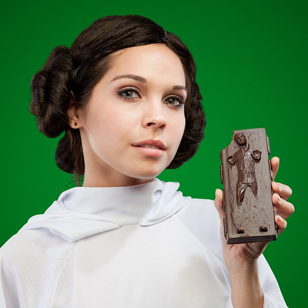 OK, this dark chocolate bar ($10) shaped like Han Solo frozen in carbonite might be out of stock for the next couple of weeks, but it's better late than never, right?