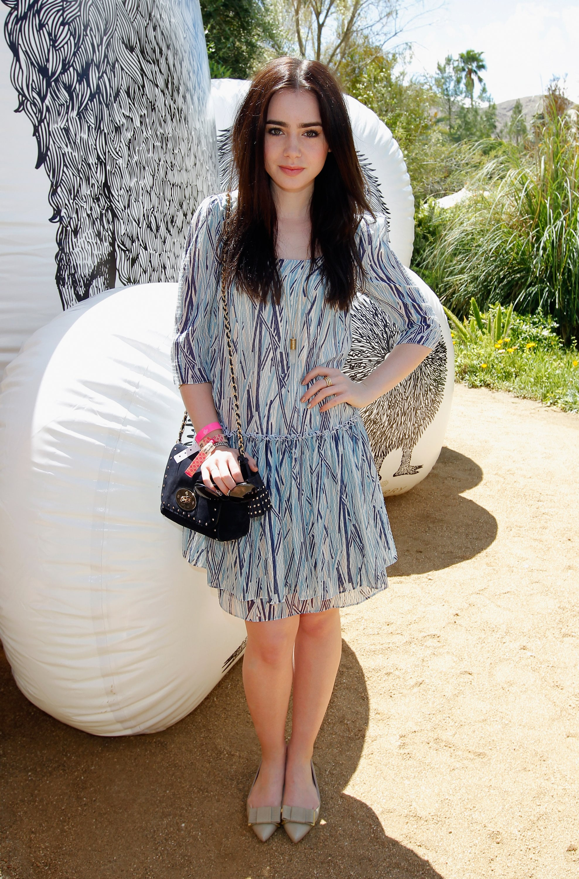 Lily Collins checked out Mulberry's party on Saturday.