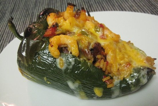 These rice, chorizo, and shrimp stuffed poblanos would be a hit at your next fiesta.