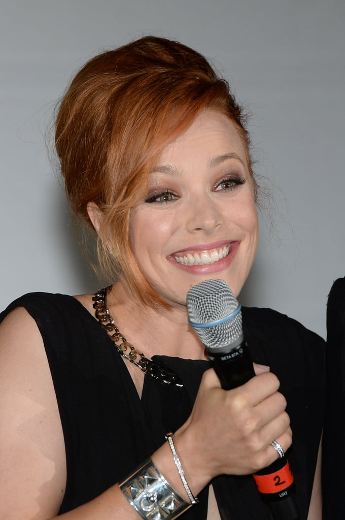 Rachel McAdams smiled while chatting with the press at the Munich screening of About Time.