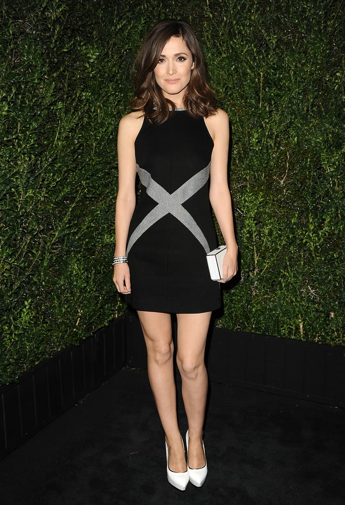 Rose Byrne stepped out in a mod-inspired black-and-silver Chanel minidress — certainly one of the evening's more playful ensembles — and paired it with white accents.