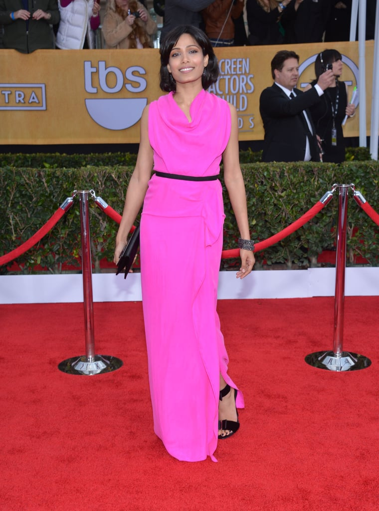 Freida Pinto was pretty in pink working an eye-catching Roland Mouret gown with black ankle-strap sandals, a matching clutch, and Lorriane Schwartz jewels.