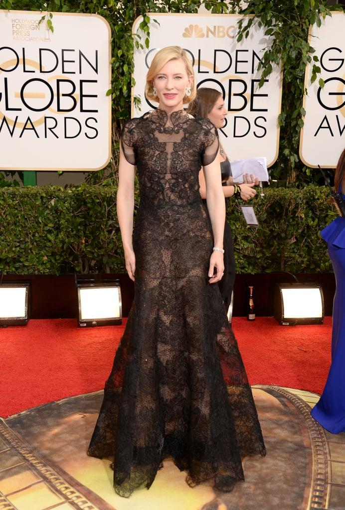 Cate Blanchett in Black Lace Armani Privé at the 2014 Golden Globe Awards